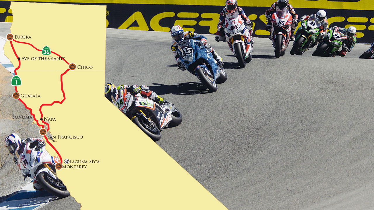 Motocyle Tour Photo for California Curves to the World Superbike Races at Laguna Seca